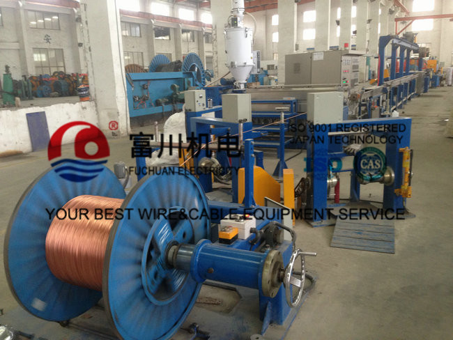 Plastic Extrusion Line For Building Wire With Drawing Inlet Dia 2.5-3mm Out Dia 0.8-1.7mm